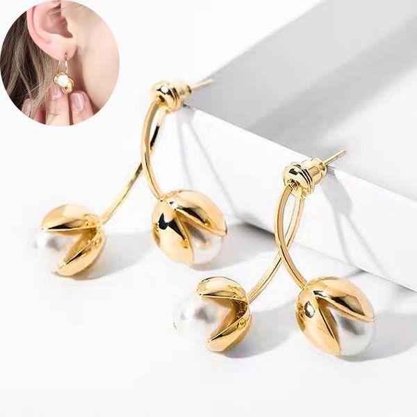 Yi wu jewelry wholesale new fashion simple elegant sweet pearl cherry earrings for women NHSC205673