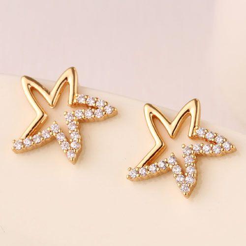 Korean Fashion Sweet Starfish Zircon Stud Earrings for women yiwu Jewelry Wholesale NHSC205672