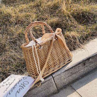 Bolso de paja cesta pequeña bolsa de mimbre bolso de mimbre portátil  bolso de playa colgado NHTC205516's discount tags