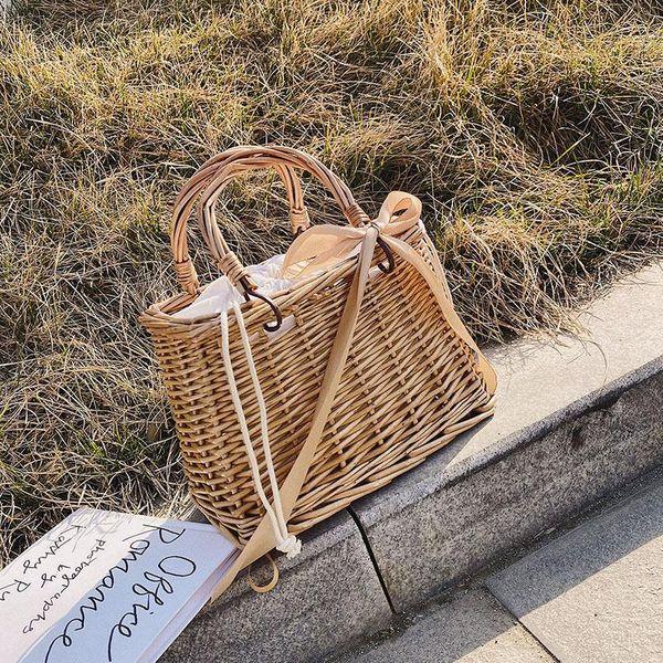 Bolso de paja cesta pequeña bolsa de mimbre bolso de mimbre portátil  bolso de playa colgado NHTC205516
