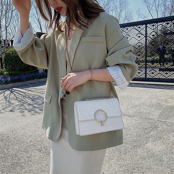 Small bag women's new Korean chain shoulder bag fashion sequins small square bag NHTC205521