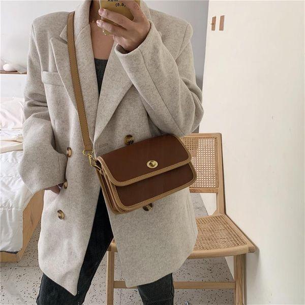 New Korean retro lock small square bag fashion shoulder diagonal bag NHTC205535