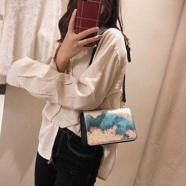 New embroidered fashion student chain Messenger bag NHTC205539