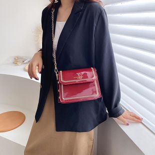 Small bags women's fashion new patent leather bag Korean chain messenger bag NHTC205630's discount tags