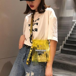 Small bags women's new fashion broadband messenger bag transparent jelly small shoulder bag NHTC205644's discount tags