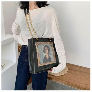 Bags Women New Bags Large Capacity Fashion Shoulder Bags Korean Casual Printed Chain Tote NHTC205651's discount tags
