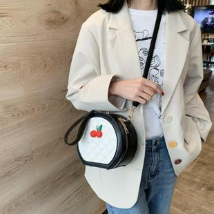 Fashion rhombus small round bag new Korean casual shoulder messenger round cake bag NHTC205661's discount tags