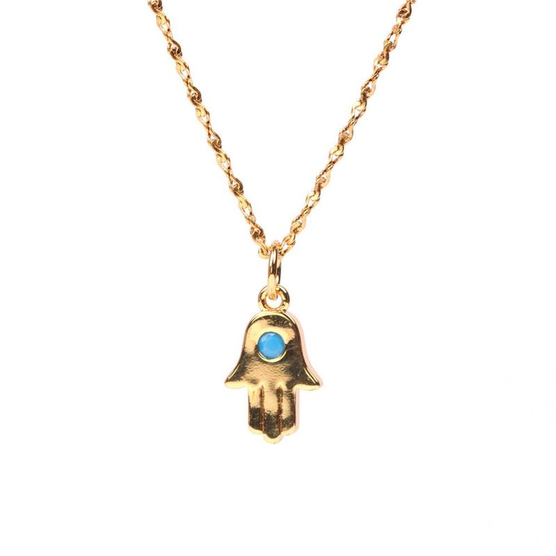 Fashion New Fatima Hand Blue Eyes Small Palm Necklace Wholesale NHPY199738