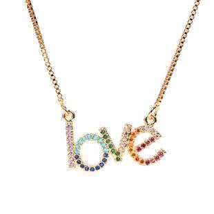 Nuevos accesorios de moda Inglés de moda LOVE Love Micro incrustaciones de circón colgante, collar de cadena de clavícula al por mayor NHPY199745's discount tags