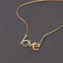 Fashion New Accessories Fashion English LOVE Love Micro Inlaid Zircon Pendant Necklace Clavicle Chain Wholesale NHPY199745