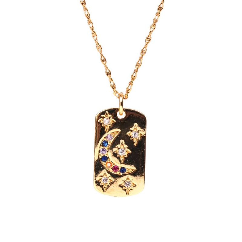 Fashion New Star Moon Micro Inlaid Zircon Pendant Necklace Hip Hop Rectangular Necklace NHPY199746