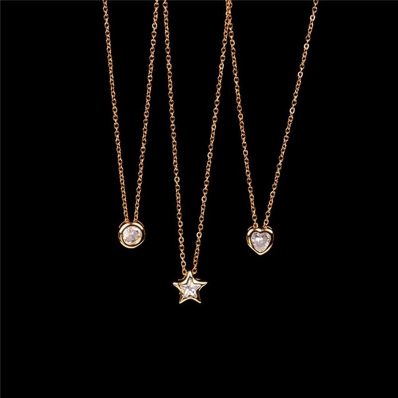 New accessories classic fashion big zircon necklace small star pendant necklace love peach heart clavicle chain NHPY199752