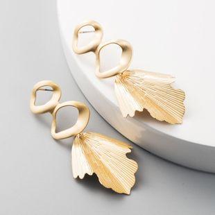 Pendientes de moda Pendientes de metal de tendencia simple Pendientes de hoja de oro exagerados NHLN199761's discount tags
