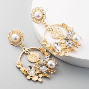 Aretes largos de borla largos de aleación cabeza de belleza perla diamante abeja accesorios pendientes de flores NHLN199764's discount tags