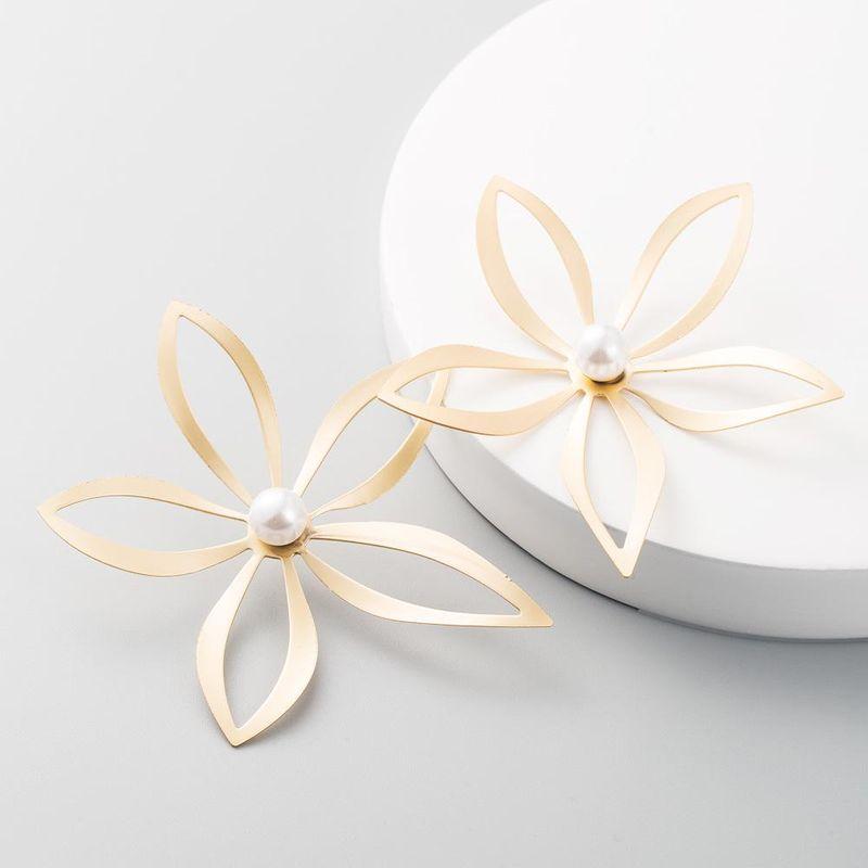 Fashion hollow alloy flower earrings female pearl earrings NHLN199767