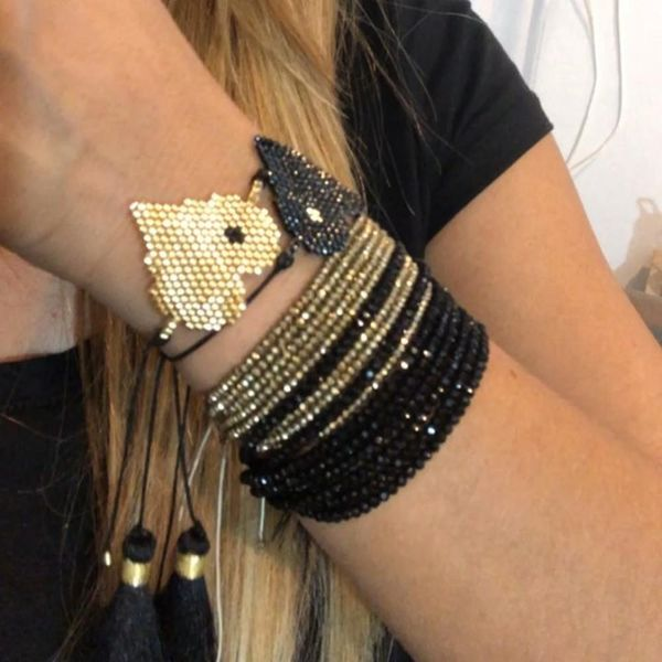 Fashion Jewelry Miyuki Bead Hand-Knitted Love Crystal Tassel Bracelet NHGW199773