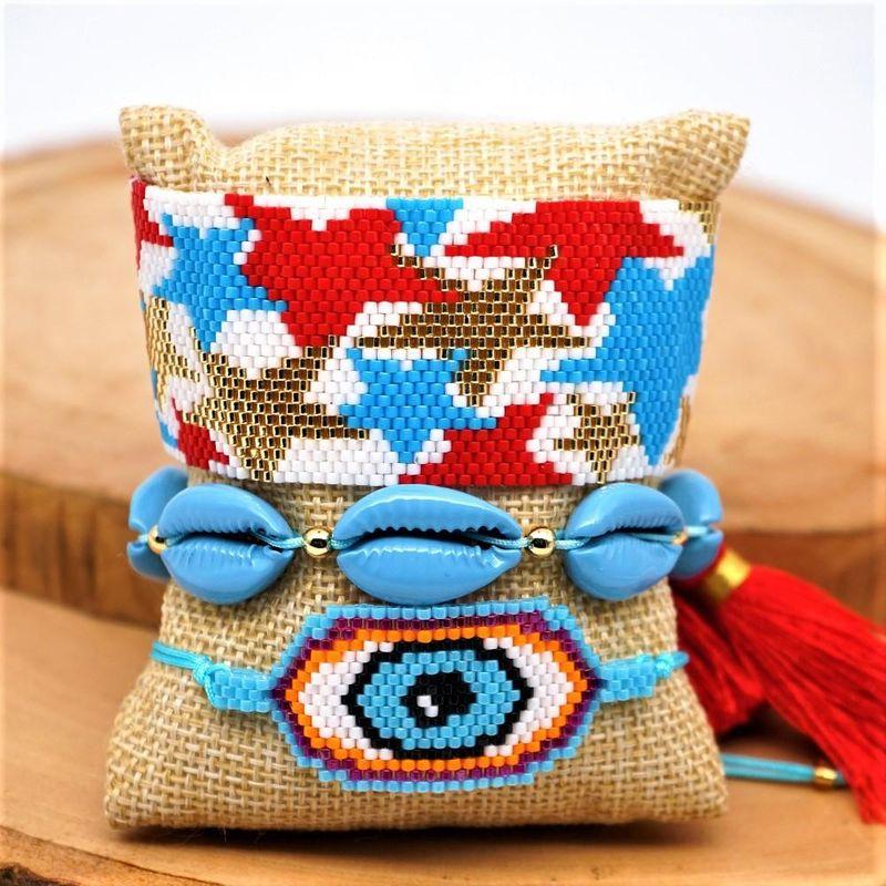 Fashion rice beads hand-woven rainbow pentagram eyes paint shell female bracelet NHGW199774