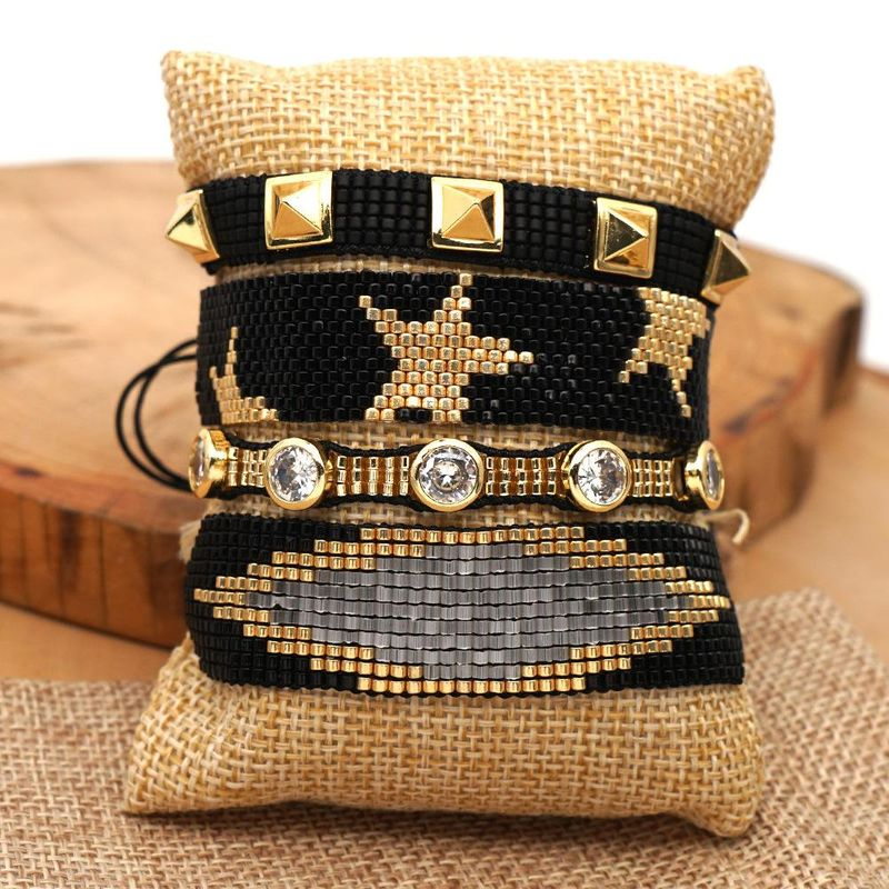 New Miyuki Woven Black Gold Pentagram Bracelet with Studded Diamond Bracelet NHGW199776
