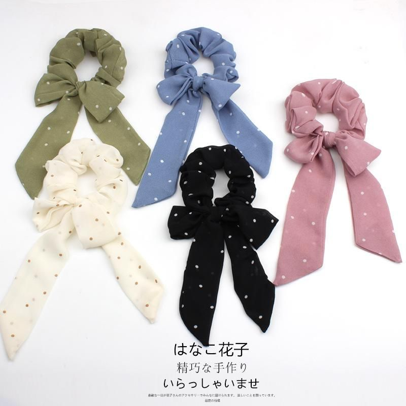 Fashion Cute Bow Streamer Wavelet Dot Chiffon Ponytail Circle Head Ornament NHOF199780