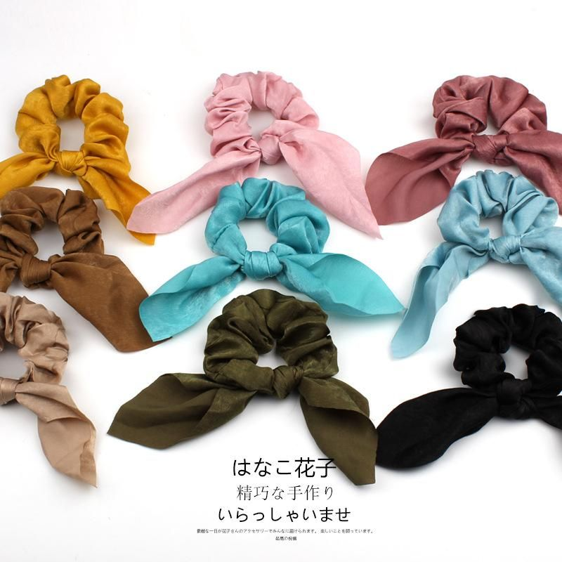 Fashion New satin solid color bow extra large intestine headband ponytail fabric headband headdress NHOF199787