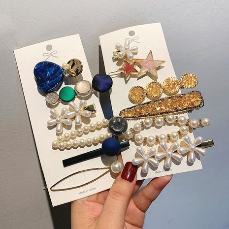 Fashion pearl hair clip set side hair clips wholesale NHOF199789's discount tags