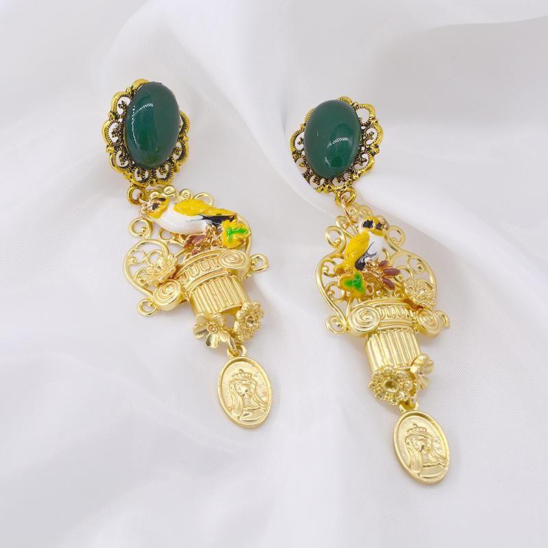 Earrings wholesale fashion exaggerated retro angel flower diamond earrings NHNT199794