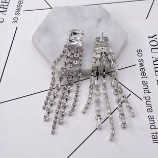 Nuevos pendientes largos de borla de cristal de circonio pendientes huecos de metal para mujer NHNT199796's discount tags
