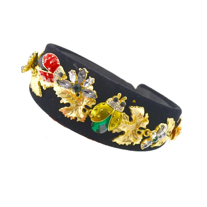 New hairpin fashion head buckle flower rhinestone wide headband bee headband  NHNT199800
