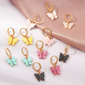 Jewelry fashion pop color acrylic butterfly earrings butterfly earrings women NHNZ199809