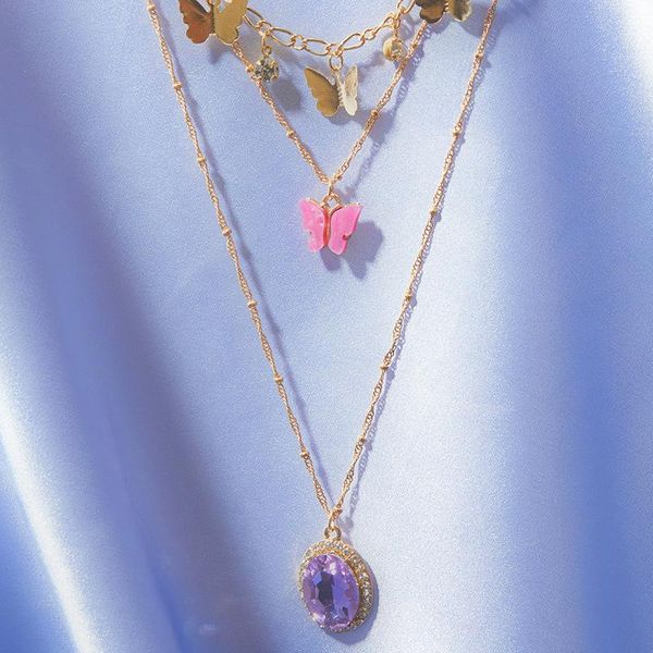 Accessories Fashion Multilayer Butterfly Necklace Vintage Zircon Crystal Pendant 3 Combinations NHNZ199810