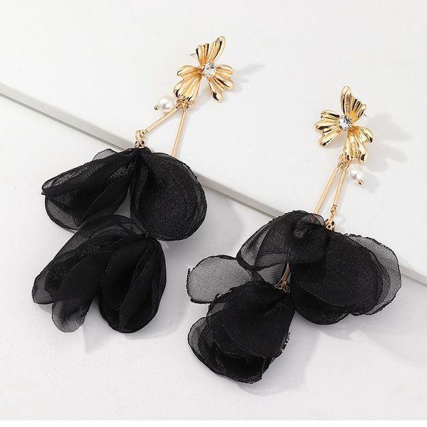 Jewelry fashion fabric flower earrings long pearl earrings wholesale women NHNZ199813