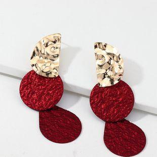 Joyas moda contraste color costura pendientes geométricos pendientes de metal exagerados NHNZ199814's discount tags