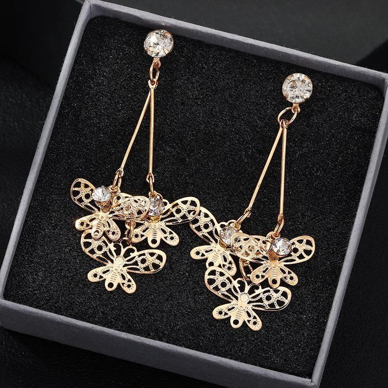 Jewelry retro fashion alloy butterfly earrings with zircon long earrings NHNZ199815