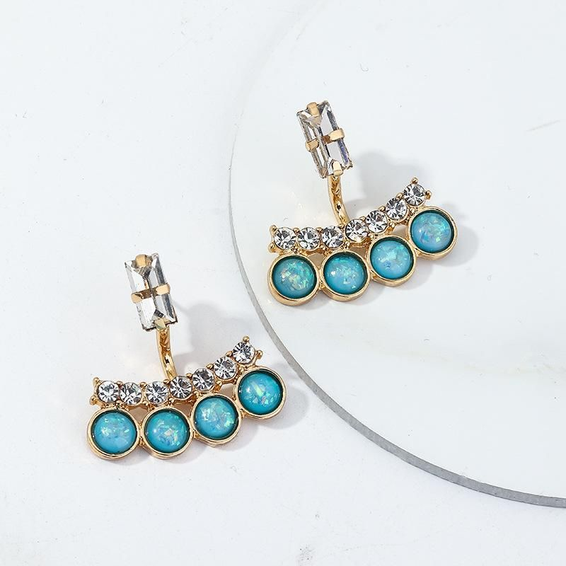 Jewelry Fashion Vintage Blue Turquoise Ear Studs Crystal Earrings NHNZ199817