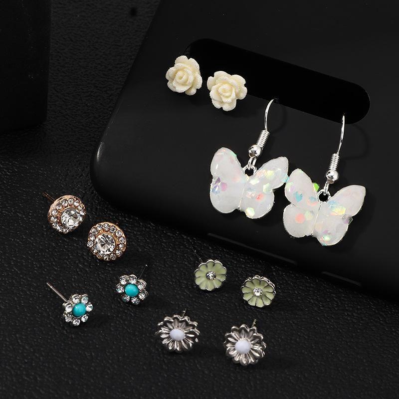 Jewelry Fashion Resin Butterfly Earrings Vintage Flower Stud Earrings 6 Pair Set NHNZ199818