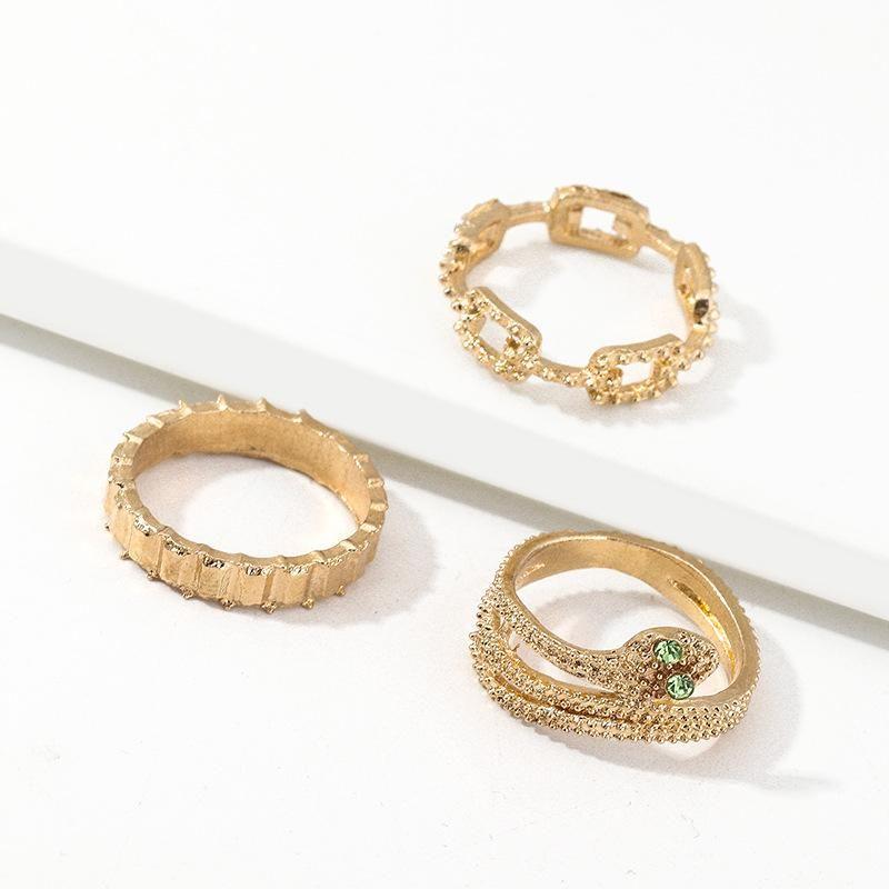 Fashion Hot Snake Ring Metal Geometric Set Ring NHNZ199819
