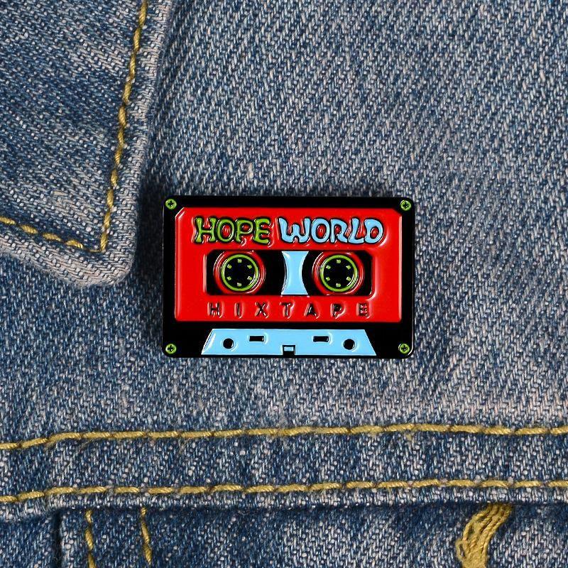 Retro enamel ribbon pin tape shape brooch nostalgic backpack student cartoon jewelry NHBO199825