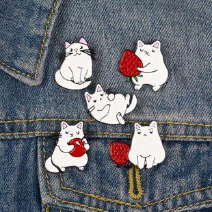 Nuevo gato blanco camisa de fruta collar pin pin goteo de aceite de goteo mochila broche al por mayor de moda NHBO199828's discount tags