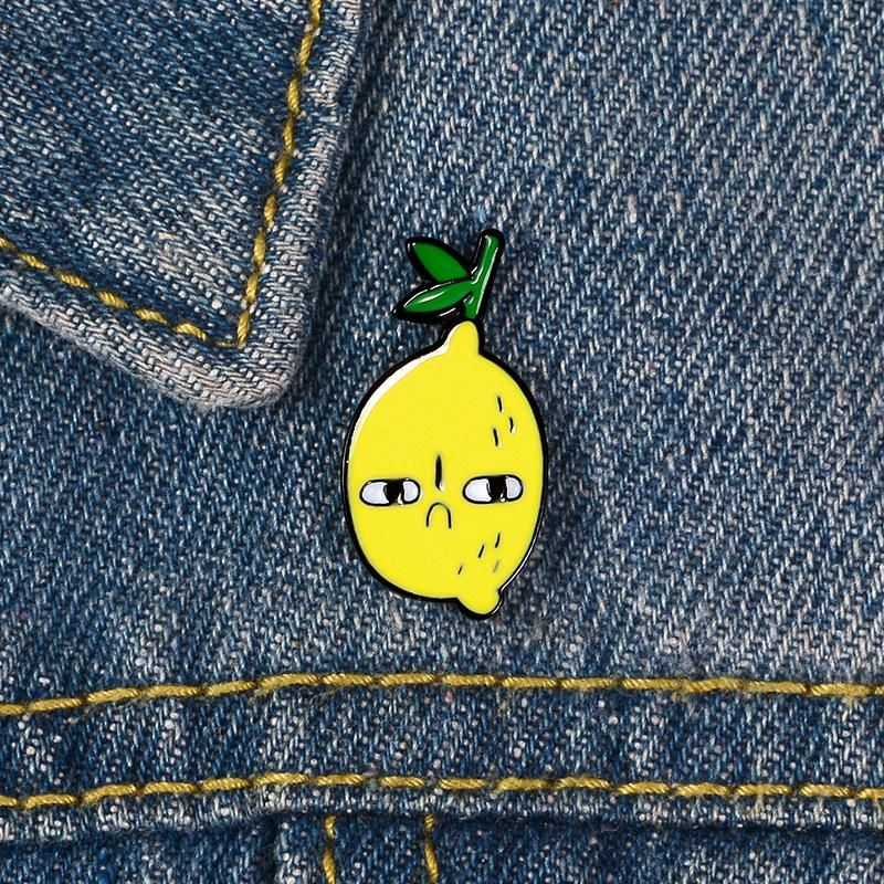 Fashion Alloy Brooch Creative Cute Cartoon Lemon Student Badge Clothes Backpack Accessories Wholesale NHBO199835