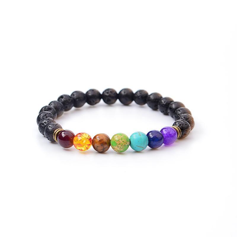 Natural Agate Lava Stone 8mm Energy Volcanic Stone Colorful Rosary Bracelet Bracelet NHBO199842