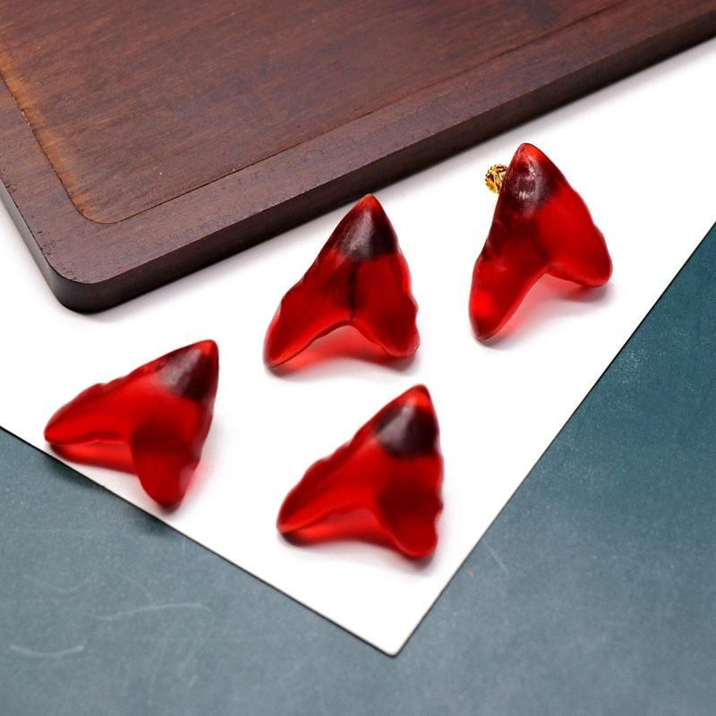 Fashionl Red Resin Triangle Heart Shaped Silver Pin Ear Studs Screw Ear Clips with Matching Ear Studs NHOM199850