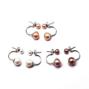 Pendientes hipoalergénicos de perlas de perlas de plata esterlina S925 de moda natural NHOM199851's discount tags