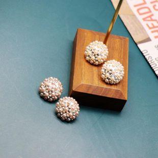 Aretes de cuentas densas de moda Aretes de perlas densas redondas de color rosa naranja NHOM199853's discount tags