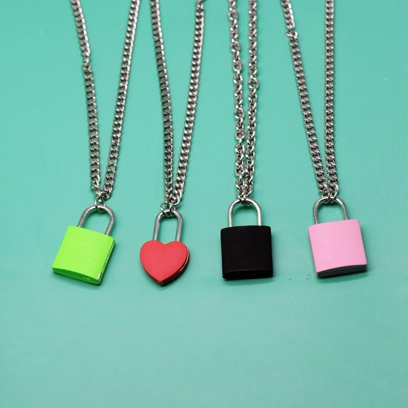 Metal Small Lock Pendant Metal Chain Necklace Colorful Square Love Heart Lock Necklace NHOM199854