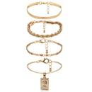 Fashion Jewelry Metal Bracelet Female Open Geometric Hollow Pearl Pendant Bangle NHXR199857