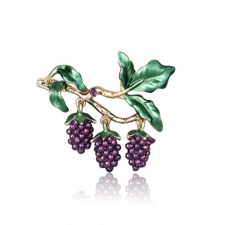 Korean wild fruit jewelry fashion dripping grape brooch new women's brooch pin NHDR199858's discount tags