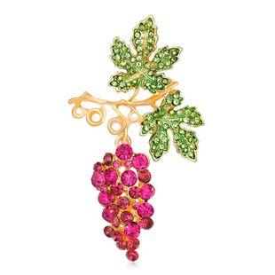 Korean girlish style pink grape brooch fashion drip oil diamond fruit corsage girl NHDR199859's discount tags