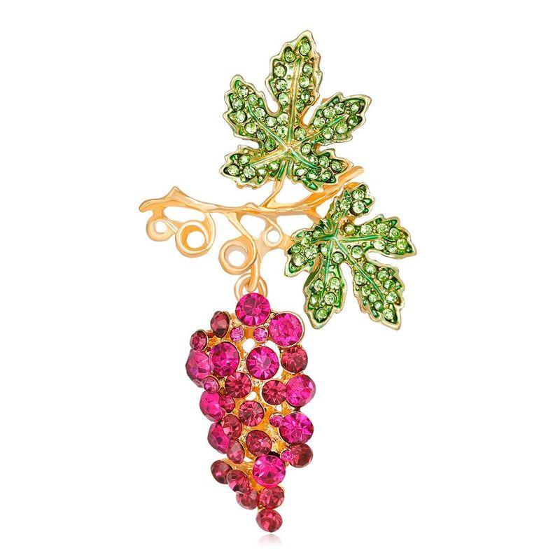 Korean girlish style pink grape brooch fashion drip oil diamond fruit corsage girl NHDR199859