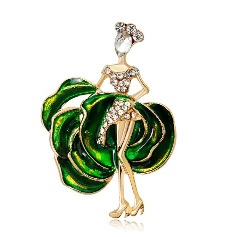 Korean high-end popular brooch fashion dancing girl alloy drip oil lady corsage NHDR199860