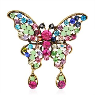 Vintage Fashion Butterfly Pendant Brooch Alloy Diamond Corsage Pin Ornament NHDR199862's discount tags